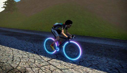 Zwiftのトロンバイク(CONCEPT Z1)のタイヤを虹色にしてみた。
